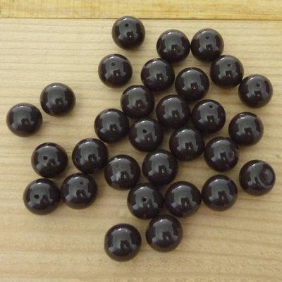 30 Perle 10 mm vetro col. marrone
