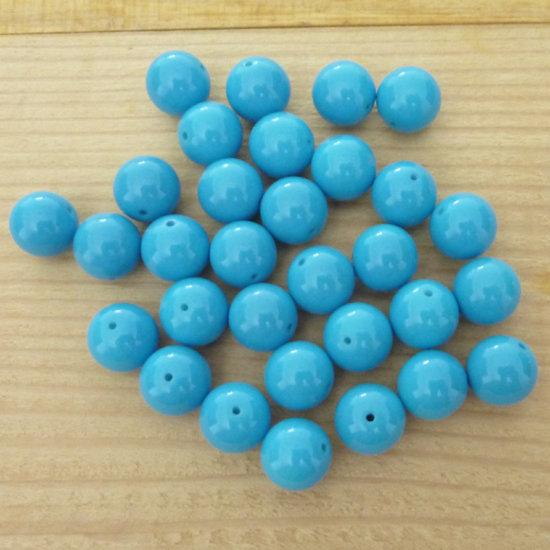 30 Perle 10 mm vetro col. azzurro