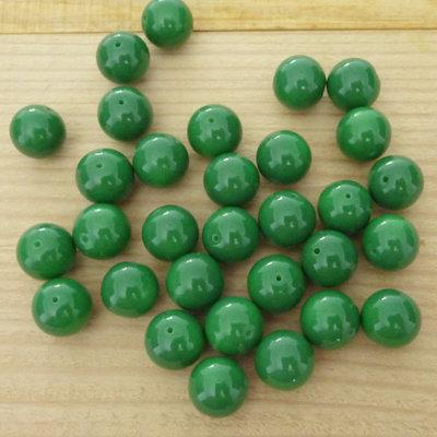 30 Perle 10 mm vetro col. verde