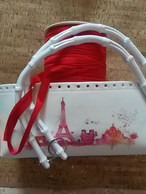 "Kit con fondo ecopelle stampa "" skiline Parigi """