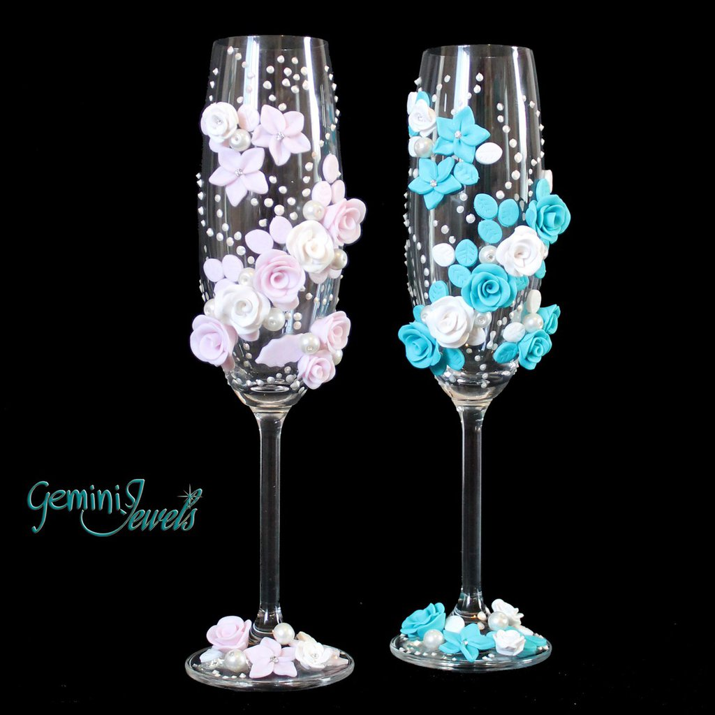 Wedding flutes, decorati a mano con fimo e perle