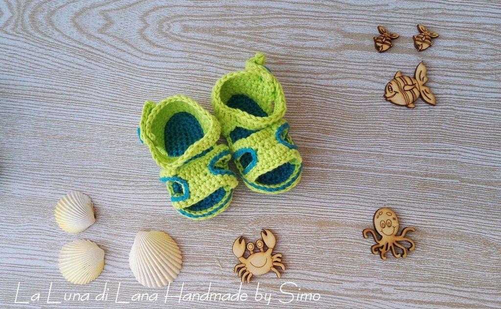 sandali a uncinetto in cotone per bimbo neonato