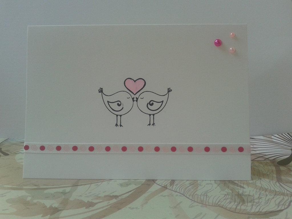 Partecipazione matrimonio invito nozze uccellini innamorati  modello in rosa
