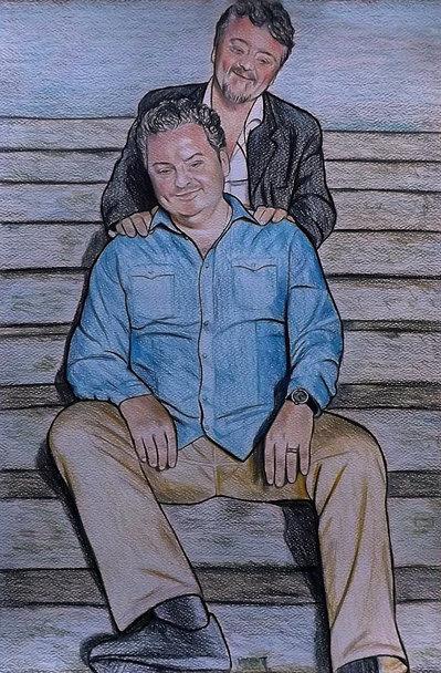 Ritratto su commissione da foto pastelli su cartoncino 33x48 cm