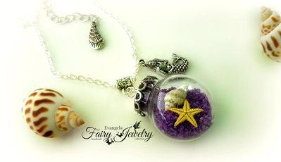 Collana sabbia stella marina naturale ampolla sirena globo