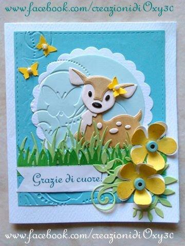 Biglietto d'auguri o ringraziamento ( la scritta personalizzabile),puo essere utilizzato anche come invito per Compleanno, Battesimo