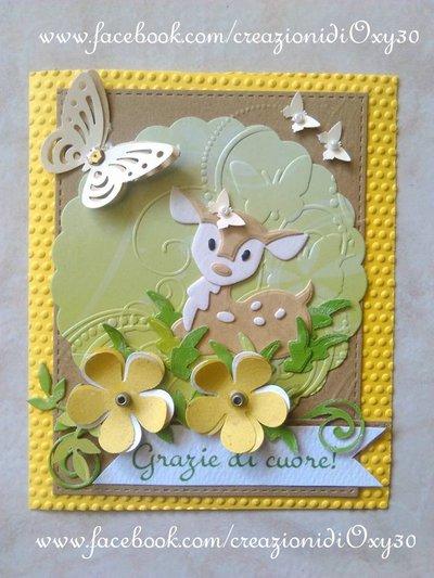 Biglietto d 'auguri o ringraziamento ( la scritta personalizzabile),puo essere utilizzato anche come invito per Compleanno, Battesimo