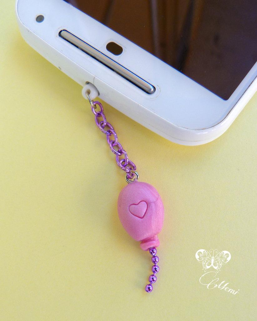 Palloncino rosa - tappo antipolvere per cellulare o tablet  - cute balloon anti dust plug