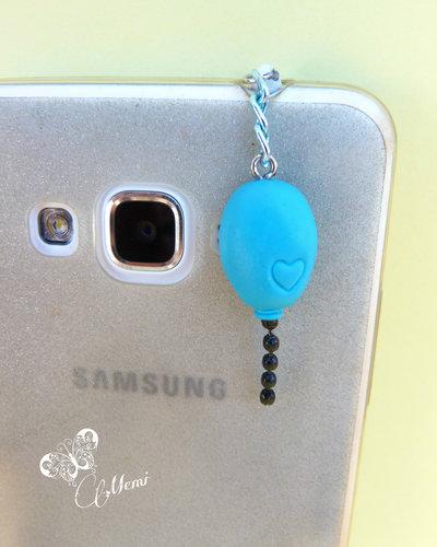 Palloncino celeste - tappo antipolvere per smartphone - balloon anti dust plug