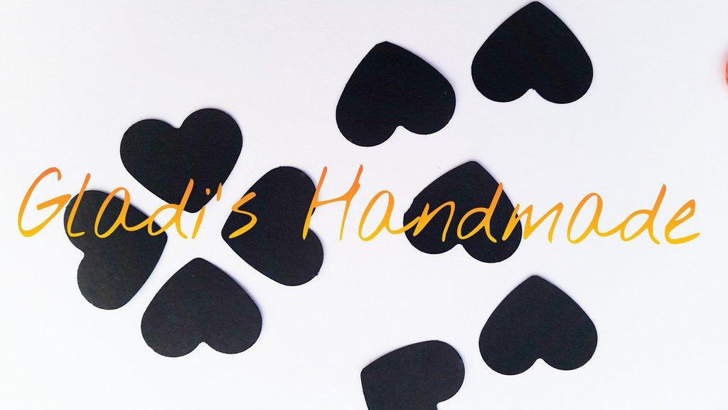 100 Coriandoli cuori neri di carta fustellati a mano