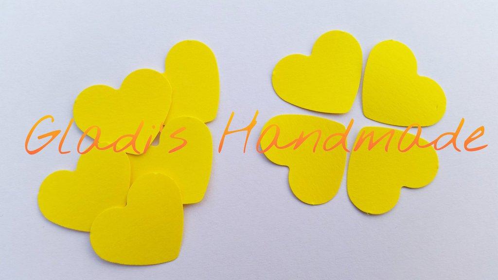 100 cuori di cartoncino giallo per scrapbooking