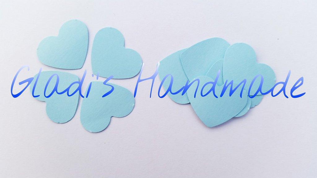100 coriandoli a forma di Cuore di cartoncino azzurro per scrapbooking