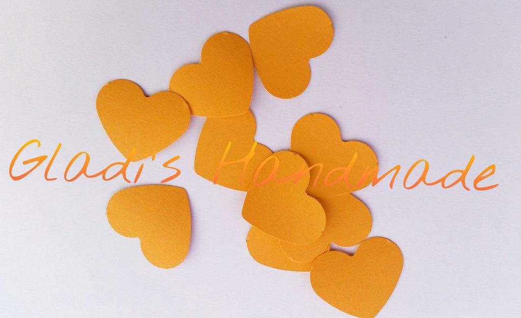 100 coriandoli a forma di Cuore di cartoncino arancione per scrapbooking