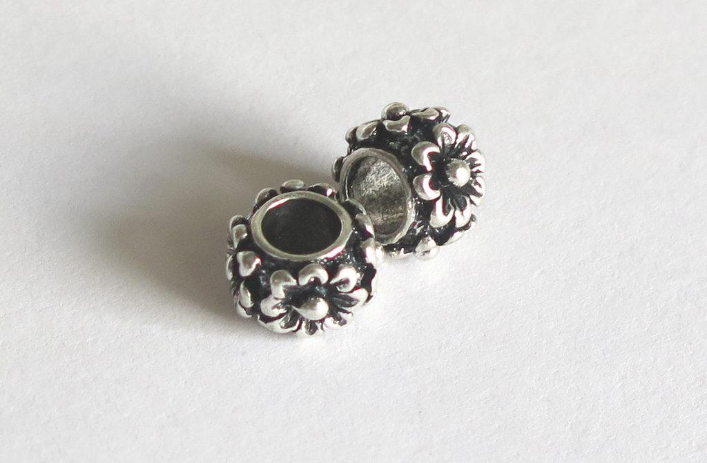 4 Perle a foro largo argento tibetano  PFL159
