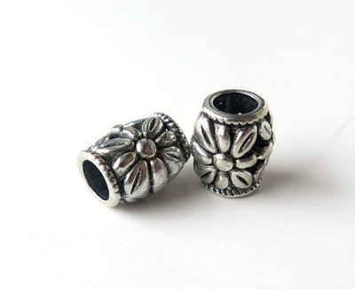 4 Perle a foro largo argento tibetano  PFL160