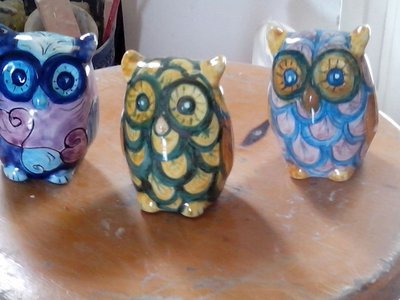 Gufi in ceramica