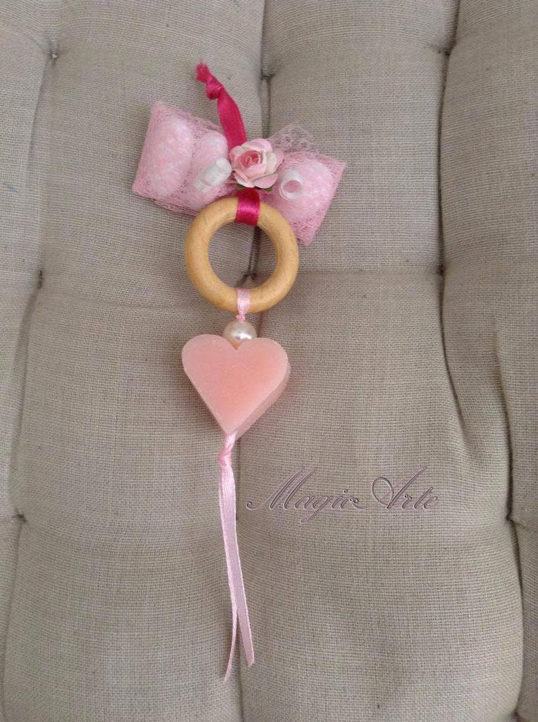 Saponetta cuoricino rosa nascita /Bomboniera