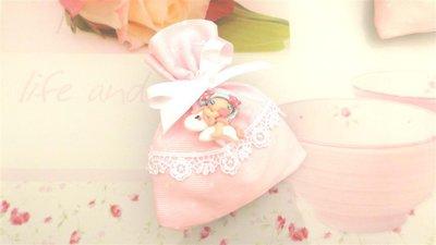 BOMBONIERA COMPLETA sacchetto porta confetti con PIZZO - battesimo nascita fimo - CIONDOLI  FATINA e PONY