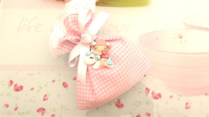 BOMBONIERA COMPLETA sacchetto porta confetti con PIZZO SAN GALLO  - battesimo nascita fimo - CIONDOLI  FATINA e PONY