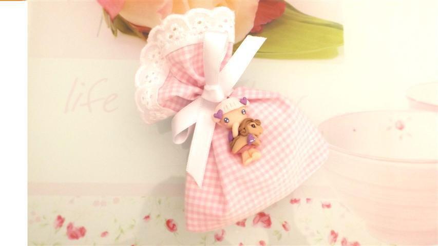 BOMBONIERA COMPLETA sacchetto porta confetti con PIZZO SAN GALLO  - battesimo nascita fimo - CIONDOLI  FATINA BAMBINA e pony