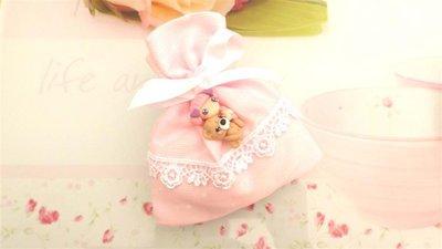 BOMBONIERA COMPLETA sacchetto porta confetti con PIZZO - battesimo nascita fimo - CIONDOLO BIMBA e il suo ORSO