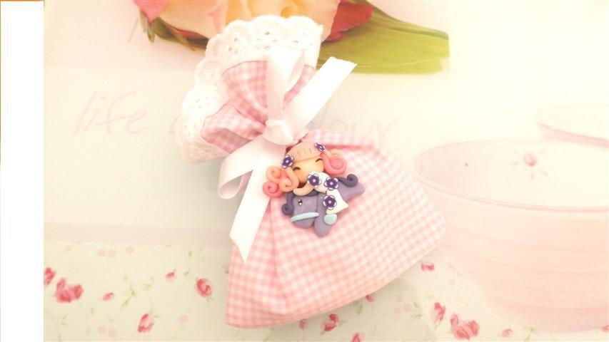 BOMBONIERA COMPLETA sacchetto porta confetti con PIZZO SAN GALLO    - battesimo nascita fimo - CIONDOLI  FATINA  e pony lilla
