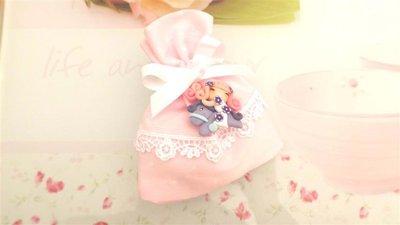 BOMBONIERA COMPLETA sacchetto porta confetti con PIZZO - battesimo nascita fimo - CIONDOLI  FATINA e MINI PONY