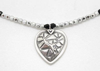 Cuore in puro argento con zirconia cubica bianca e collana in mezzo cristallo
