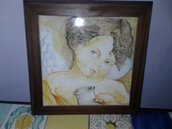 Quadretto d'angelo su mattonella 20x20