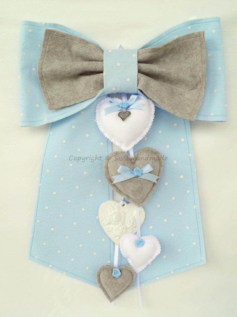 Fiocco nascita benvenuto bambino in pannolenci azzurro