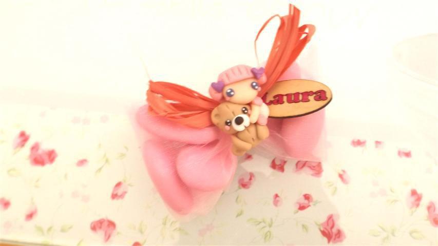 OFFERTA PROMOZIONALE FIMO - BOMBONIERE COMPLETE -FATINA BAMBINA dollina doll con orsetto   - con sacchettino confetti e in OMAGGIO targa con nome