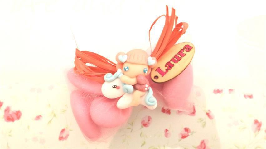 OFFERTA PROMOZIONALE FIMO - BOMBONIERE COMPLETE -FATINA BAMBINA dollina doll con  pony   - con sacchettino confetti e in OMAGGIO targa con nome