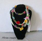 Collana/cintura fiorita uncinetto perline