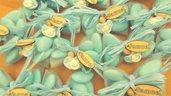 OFFERTA PROMOZIONALE FIMO - BOMBONIERE COMPLETE - CIUCCIO CELESTE BIMBO   - con sacchettino confetti e in OMAGGIO targa con nome