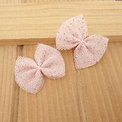 2 Fiocchi 35x25 mm applicazioni stoffa col. rosa con brillantini