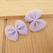 2 Fiocchi 35x25 mm applicazioni stoffa col. lilla con brillantini