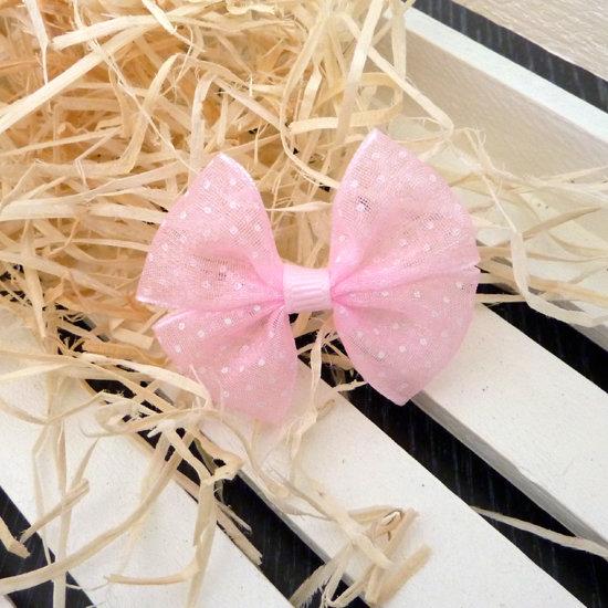 1 Fiocco 50x45 mm applicazione nastro col. rosa