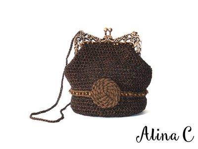Bronze, borsetta all'uncinetto, crochet,con chiusura clic clac in metallo, filato marrone e lurex, elegante,cerimonia