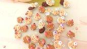 OFFERTA ESTATE PREZZI PAZZI - LOTTO STOCK 10 BISCOTTINI con fruttini o fiori KAWAII   con fiocco o cuoricino   - fimo