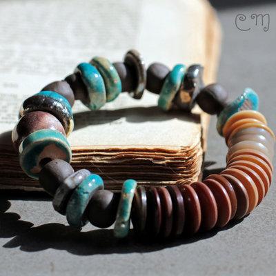 Bracciale etnico turchese con perle in ceramica