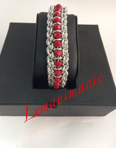#bracciale #chainmail #swarovsky #rosso
