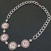 Collana cialde caffè riciclate rosa antico e perle bianche