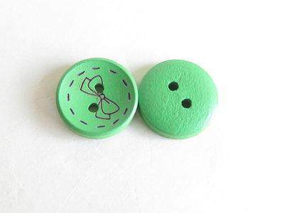 6 Bottoni di legno -VERDE  BOT15