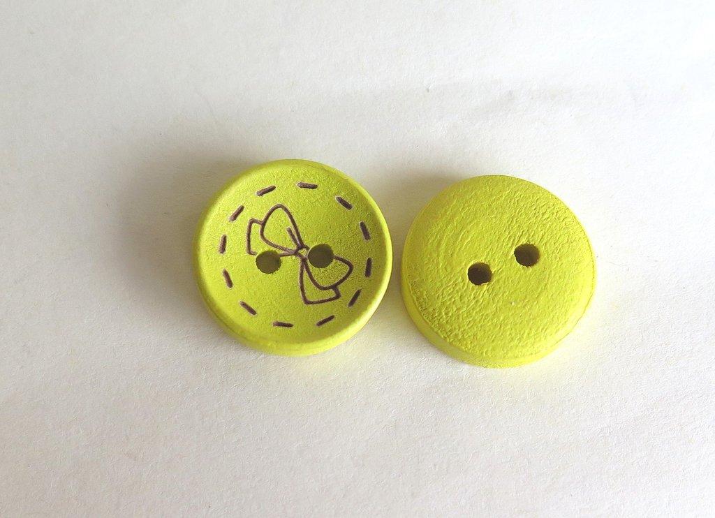 6 Bottoni di legno -GIALLO BOT16