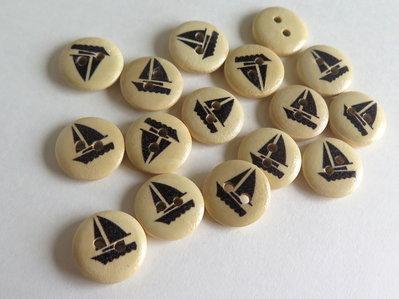 6 Bottoni di legno -MARINA  BOT1