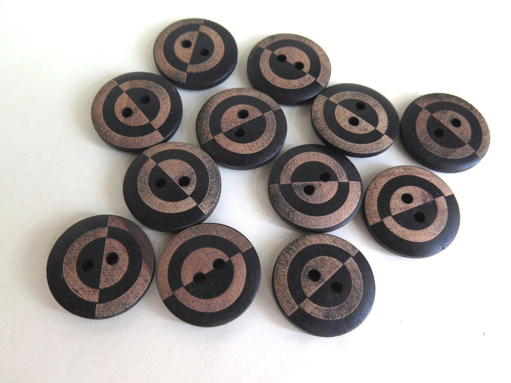 4 Bottoni rotondi in legno bicolore   BOT8