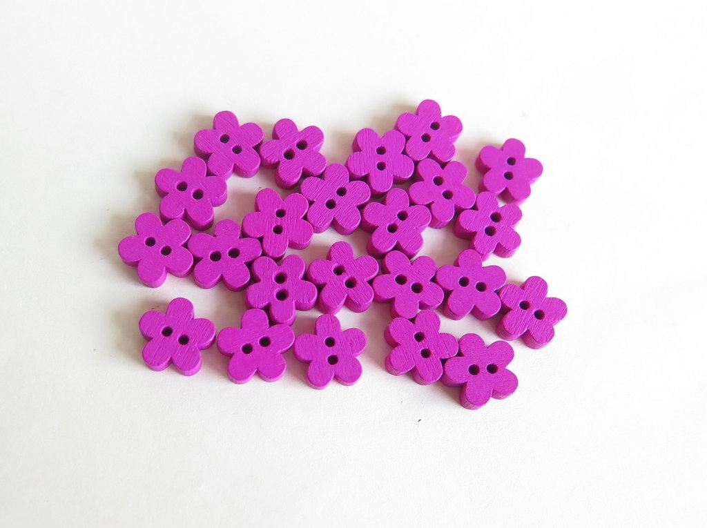 6 Bottoni di legno a forma di fiore   BOT21
