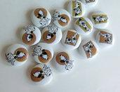 6 Bottoni di legno DOG    BOT46
