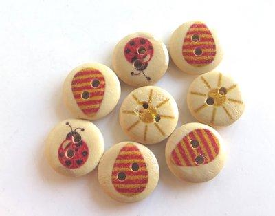 6 Bottoni di legno MIX    BOT37
