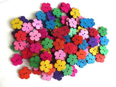 10 Bottoni di legno FLOWER MIX    BOT31